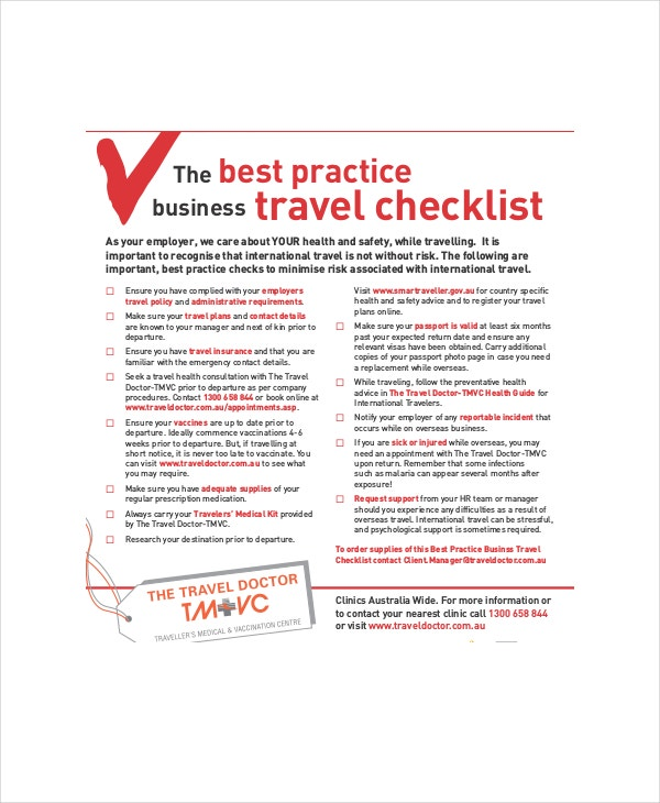 business travel checklist template
