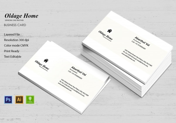 old age home business card