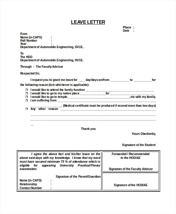 11 Leave Letter Templates Free Sample Example Format – Sample Application for Leave from School