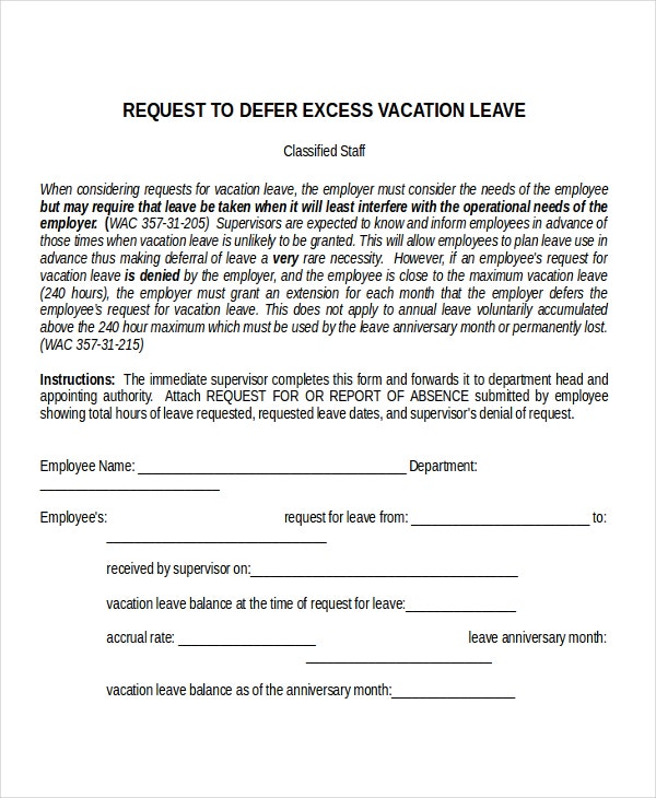 Vacation Leave Letter Template  Format For Leave Application