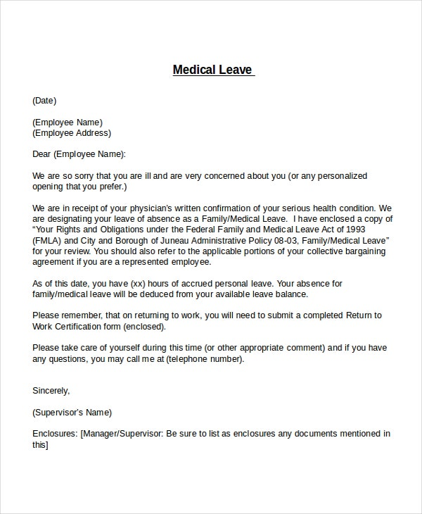 12 leave letter templates free sample example format free medical leave letter template spiritdancerdesigns Choice Image