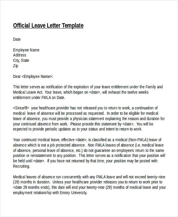 Resume medical leave – Request for Leave Template