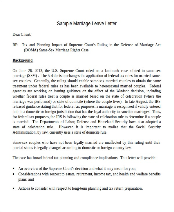 Marriage Leave Letter Template
