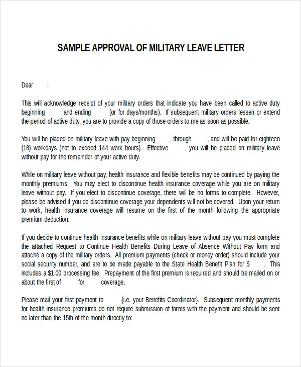12 leave letter templates free sample example format free military leave letter template spiritdancerdesigns Image collections