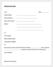 School Leave Letter Template