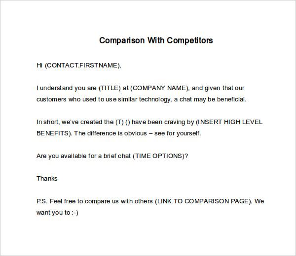 comparison with competitors