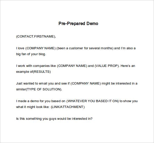 pre prepared demo
