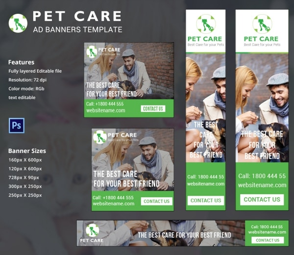 Pet Care Ad Banners Design
