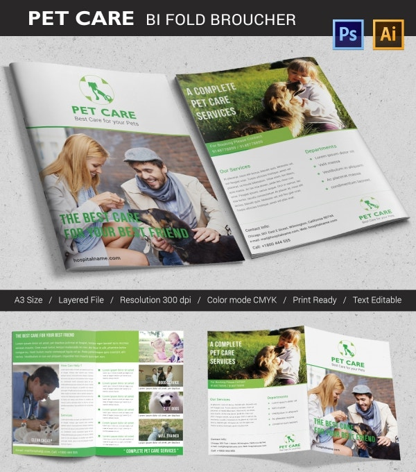 Pet Care Bi-fold Brochure Template