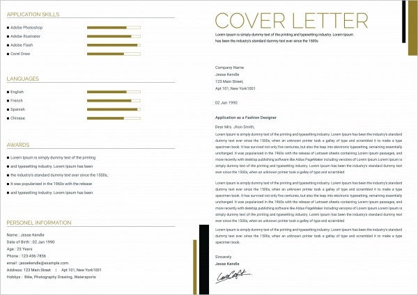 Fashion Application Cover Letter Example