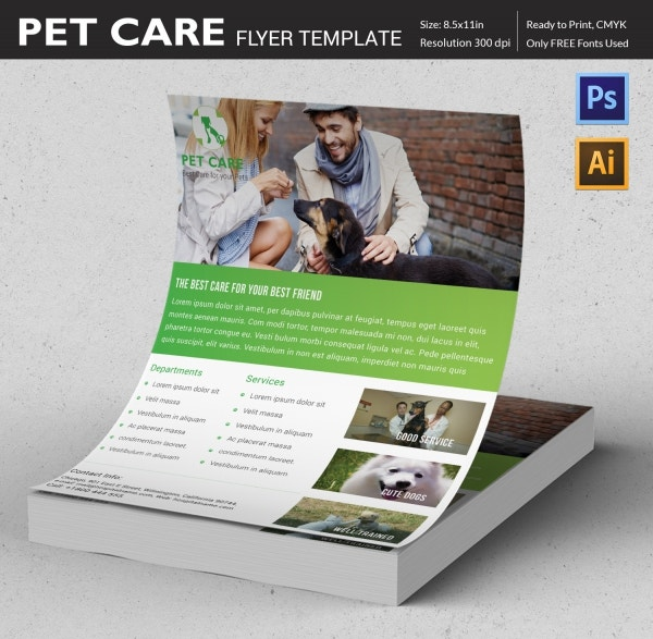 pet care flyer design template