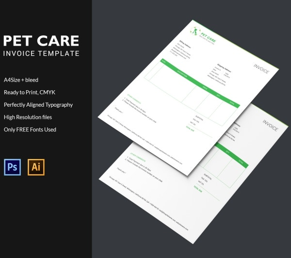 pet care invoice template design
