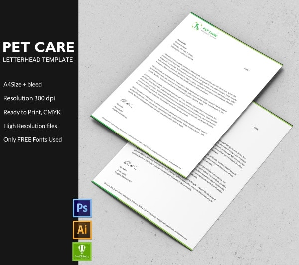 Pet Care Letterhead Template