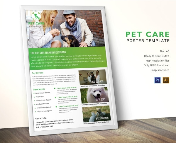 Pet Care Poster Design Template