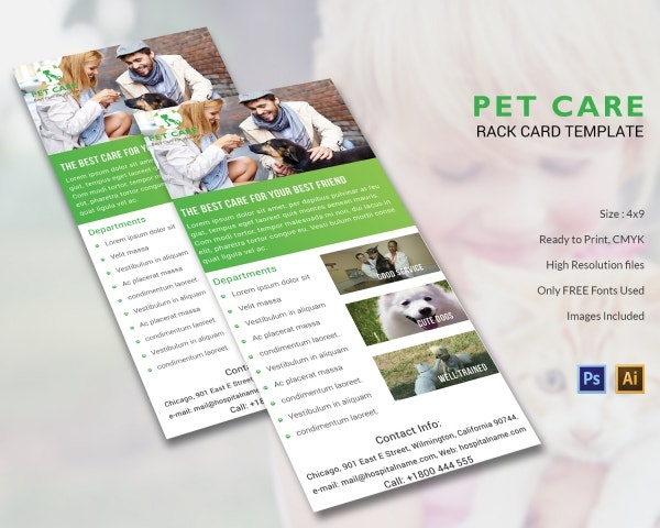 Pet Care Rackcard Template