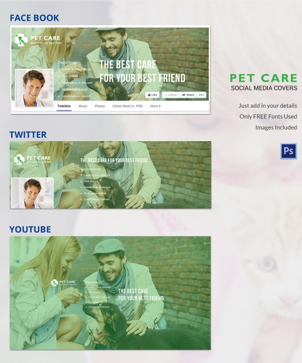 Pet Care Social Media Cover Page Template