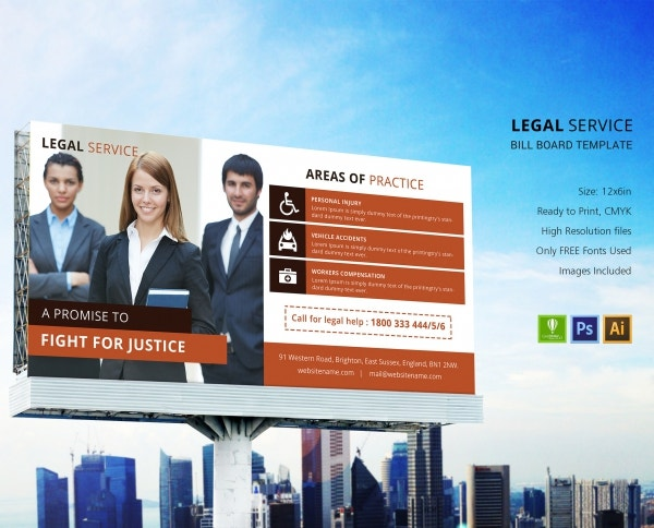 legal services bill board template