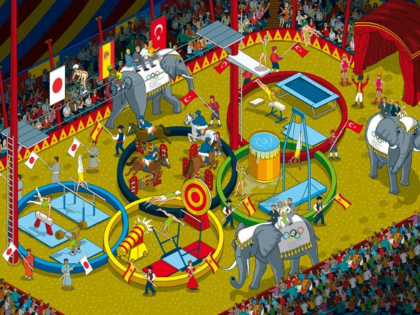 Olympic Five Ring Circus Artwork