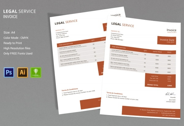 legal services invoice design template