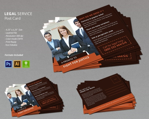 legal services post card design