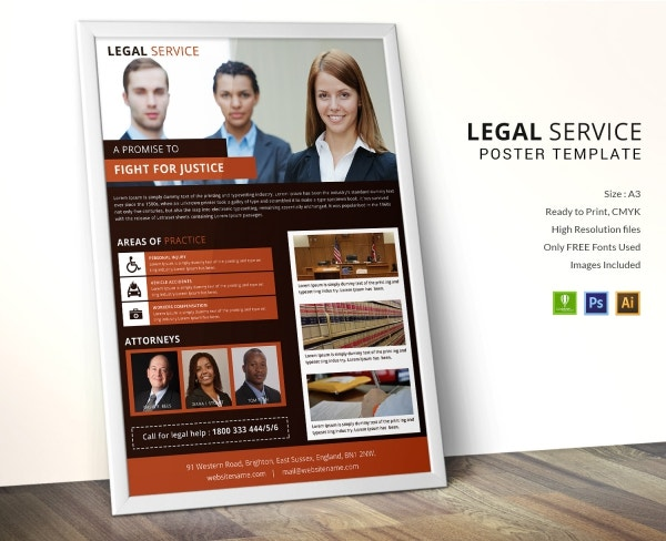 legal services poster design template