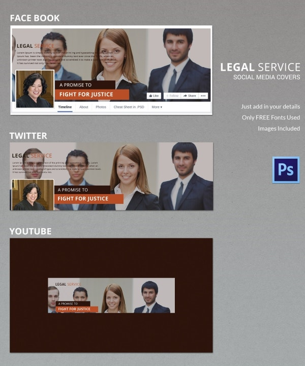 legal services social media cover template