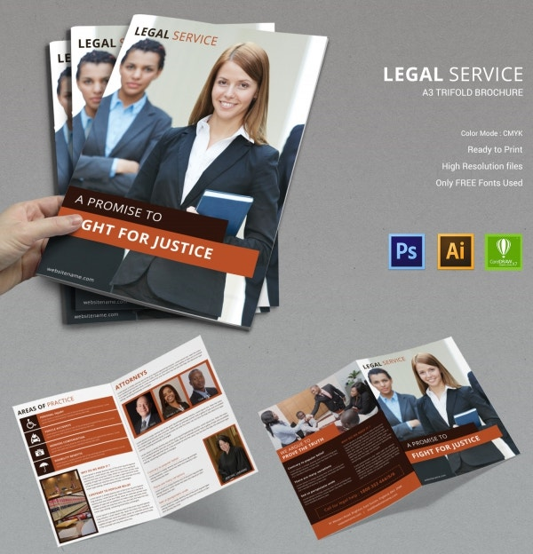 legal services bi fold brochure template