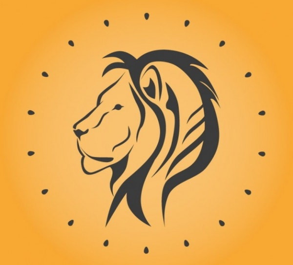 Lineart Lion Heart Free Vector