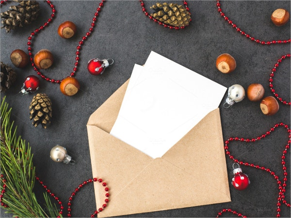 Elegant Blank Envelope & Christmas Decorations