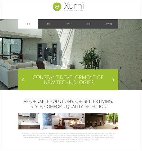 Interior Design WordPress Theme $75