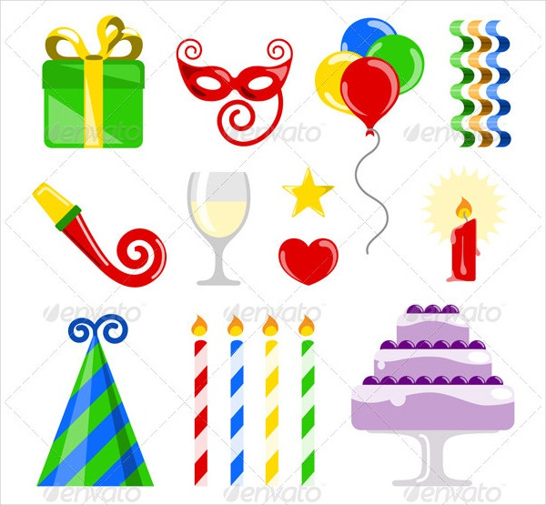 Birthday Icons Vector Style