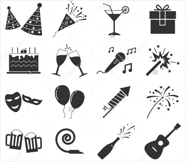 Birthday Icons Silhouette Style