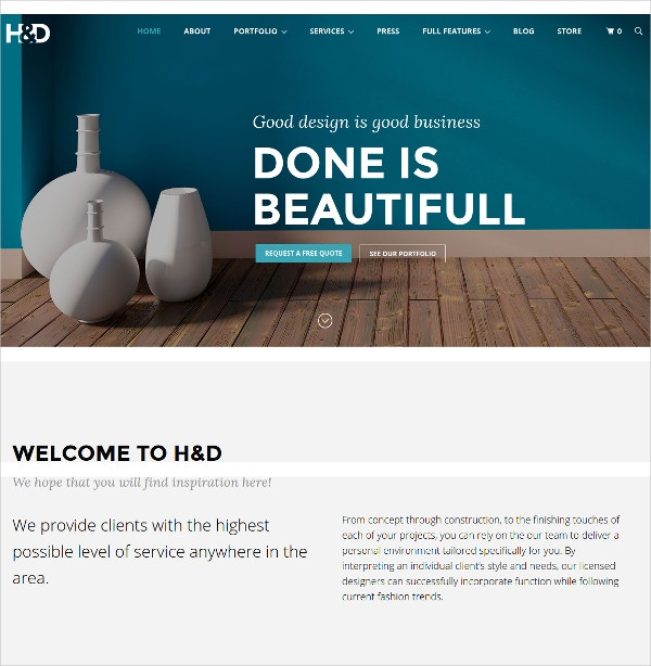 Architecture Interior Design WordPress Theme $59