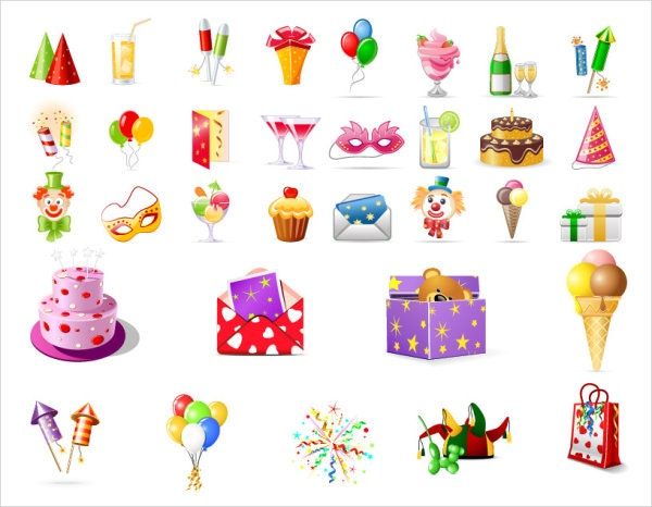 Birthday Icons Vector Graphics