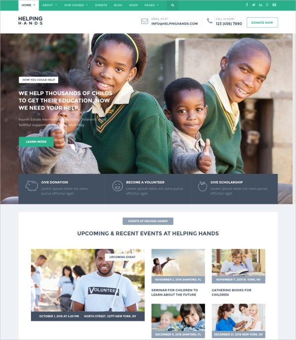 Designed WordPress Theme For Charity