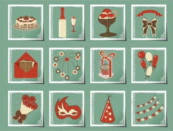 Retro Birthday Party Icon