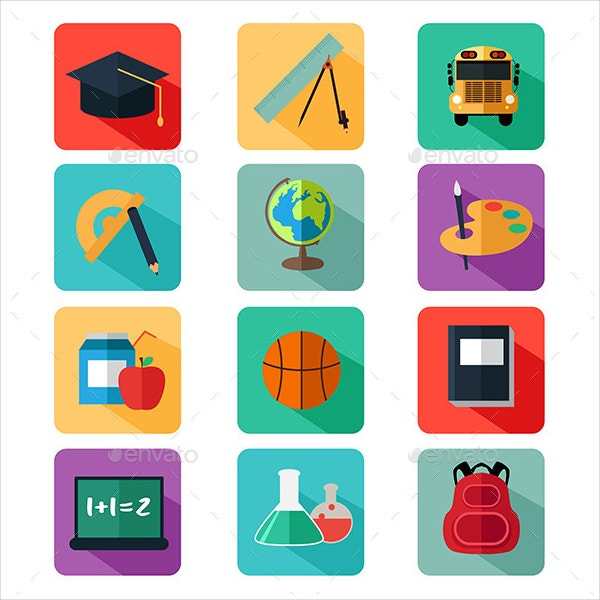 colorful flat education icons
