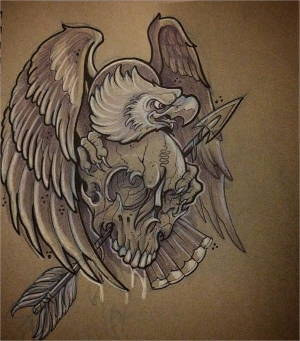 Eagle with skull Tattoo Drawing
