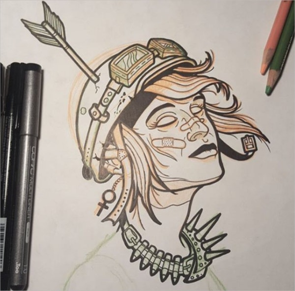 Tank Girl Tattoo Drawing