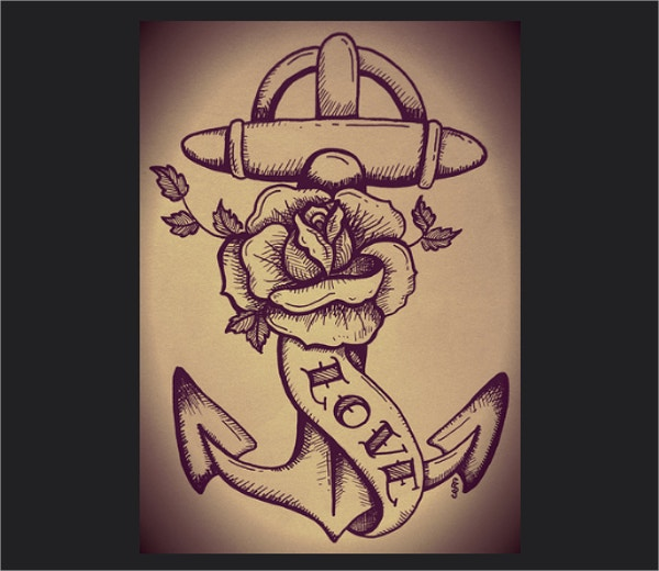 Anchor and Rose Tattoo Drawing