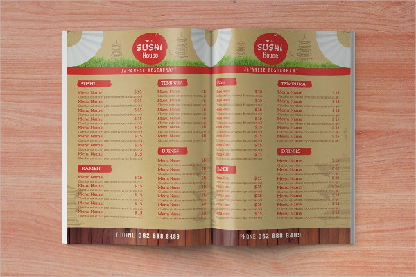 Amazing Japanese Restaurant Takeaway Menu Template