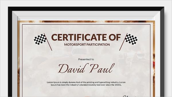 motorsport certificate