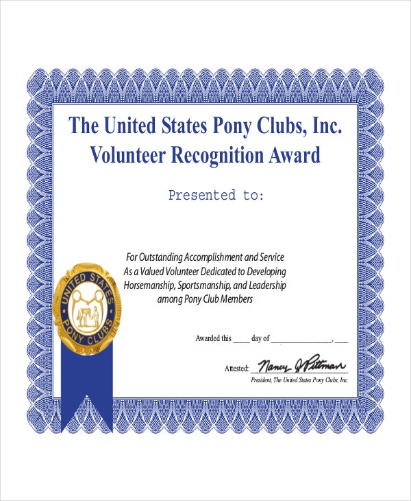 Examples of volunteer certificates pictures to pin on for Volunteer recognition certificate template