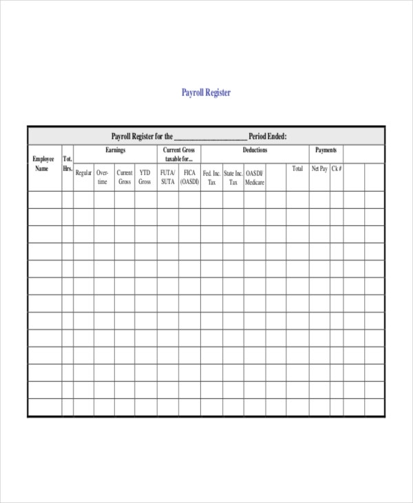 Payroll register template 7 free word excel pdf for Document register template free