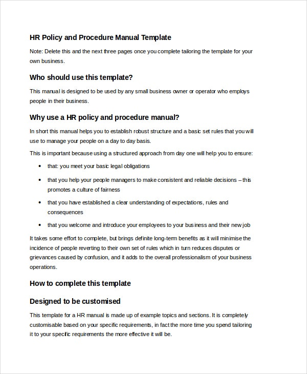HR Manual Template Free Word PDF Document Downloads Free - Employee handbook template pdf