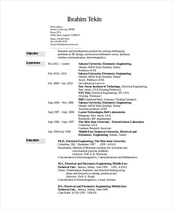 electronic resume resume format download pdf