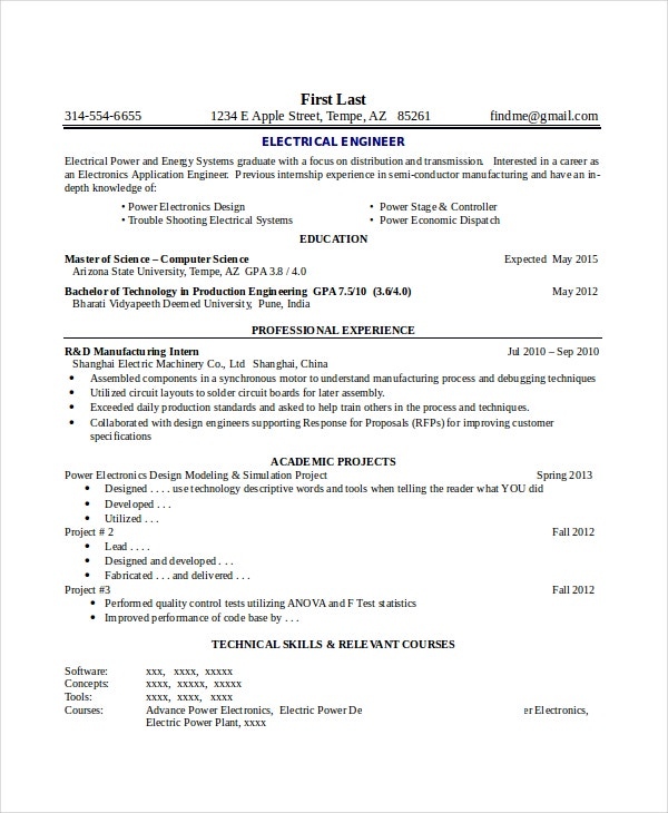 Electronics Resume Template - 8+ Free Word, PDF Document