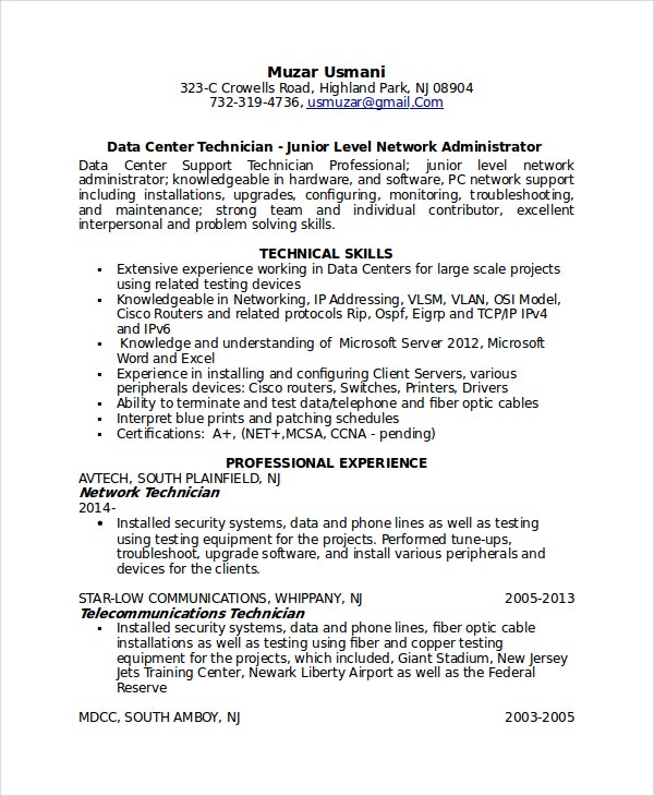telecommunications technician resume - Support Technician Resume