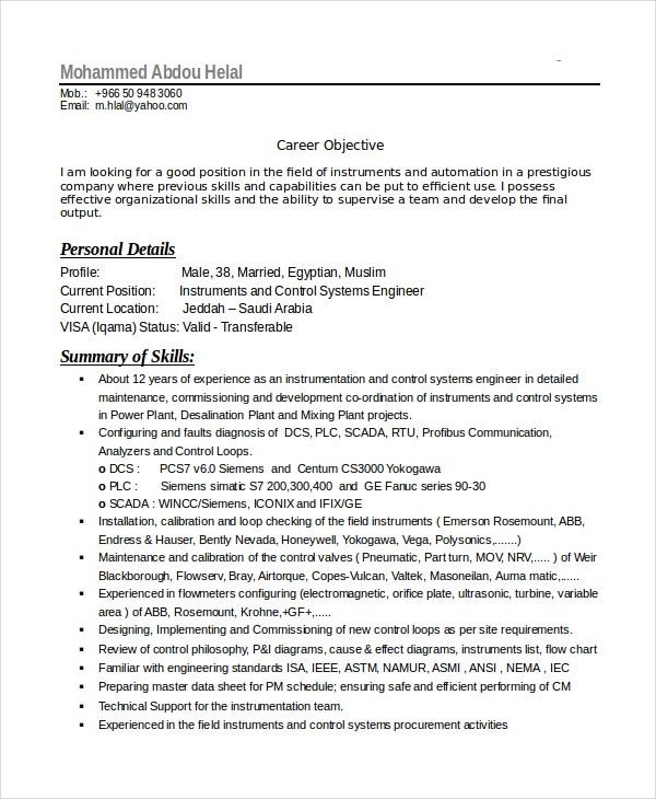 Free Resume Example For Engineering Technician