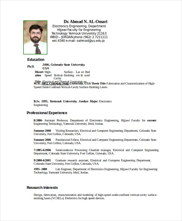 Professional Electronics Engineer Resume